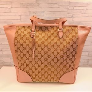 Gucci Bree Pink Leather Brown GG Canvas Tote